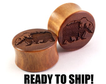 "READY TO SHIP 7/8"" (22mm) Lignum Vitae Grizzly Bear Wooden Plugs - Premade Gauges Ship Within 1 Business Day!"
