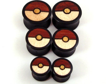 "Pokeball Tri-Color Wood Inlay in Ebony Wooden Plugs - 5/8"" (16 mm) 3/4"" (19mm) (20.5mm) 7/8"" (22mm) 1"" (25.5mm) (28mm) Pokemon Ear Gauges"