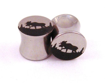 "Moose Double Flared Steel Plugs - 2g (6 mm) 0g (8 mm) 00g (10 mm) 7/16"" (11 mm) 1/2"" (13 mm) 9/16"" (14 mm) 5/8"" (16mm) Metal Ear Gauges"