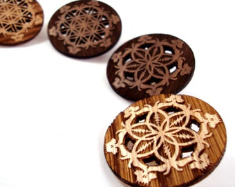Grateful Dead-Inspired Flower of Life Hat Pins - Sustainably Harvested Oak and Walnut - Gift for Her
