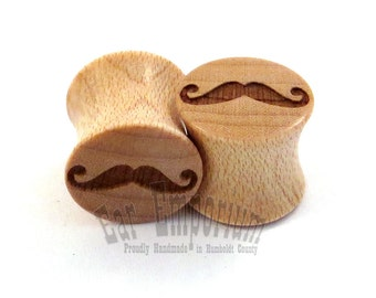 "Moustache Maple Wooden Plugs 2g (6.5mm) 0g (8mm) 00g (9mm) (10mm) 7/16"" (11mm) 1/2"" (13mm) 9/16"" (14mm) 5/8"" (16mm) 3/4"" 7/8"" Ear Gauges"