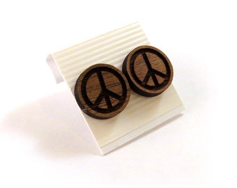 Peace Sign Walnut Wooden Post Earrings - Sustainable Wood Ear Studs