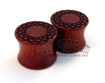 "Radiant Ora on Bloodwood Wooden Plugs - PAIR - 00g (10mm) 7/16"" (11 mm) 1/2"" (13 mm) 9/16"" (14 mm) Pattern Red Wood Ear Gauges"