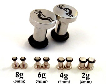 Kokopelli Single Flared 316L Surgical Steel Plugs - 8g (3mm) 6g (4mm) 4g (5mm) 2g (6mm) Southwest Single Flare Metal Ear Gauges