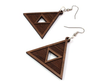 Triforce Wooden Hook Earrings - Walnut - 2 Sizes - Gamer Wood Dangle Tri Force Earrings