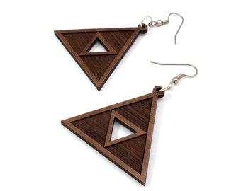 Triforce Wooden Hook Earrings - Walnut - 2 Sizes - Gamer Wood Dangle Tri Force Earrings