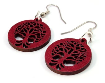 Small Tree of Life Sustainable Wooden Hook Earrings - One Inch in Red Stained Maple