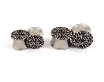 "Celtic Fractal Steel Plugs - 0g 00g 7/16"" (11mm) 1/2"" (13mm) 9/16"" (14mm) 5/8"" (16 mm)  Geometric Ear Gauges"