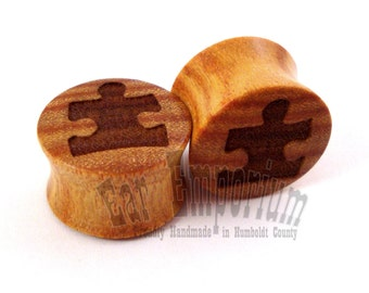 "Puzzle Piece Canary Wooden Plugs PAIR 2g (6.5mm) 0g (8mm) 00g (9mm) (10mm) 7/16"" (11mm) 1/2"" (13mm) 9/16"" (14mm) 5/8"" (16mm) Wood Ear Gauges"