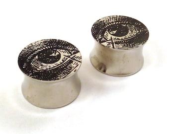 """Vintage Eye Diagram Surgical Steel Plugs 7/16"""" (11 mm) 1/2"""" (13 mm) 9/16"""" (14 mm) 5/8"""" (16 mm) Metal Ear Gauges"""