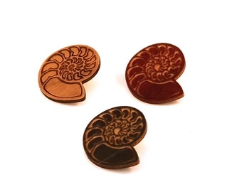 Ammonite Hat Pins - Sustainably Harvested Oak, Walnut or Red Stained Maple