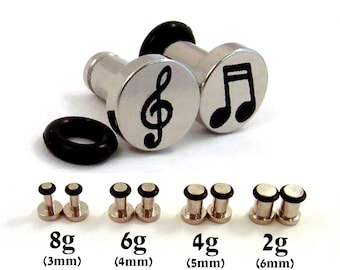 Musician Single Flared 316L Surgical Steel Plugs - 8g (3mm) 2g (6mm) Music Notes and Treble Clef Symbol Metal Ear Gauges