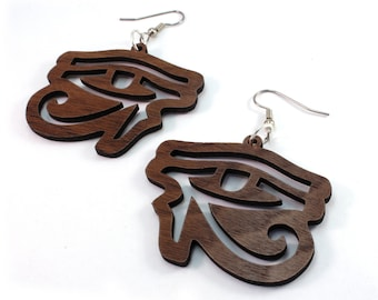 Eye of Horus Hook Earrings - Large - Oak, Walnut, Red Stained Maple or Black Stained Maple Wood Earrings