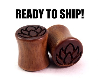 "READY TO SHIP - 7/16"" (11mm) Lignum Vitae Lotus Wooden Plugs - Pair - Premade Gauges Ship Within 1 Business Day!"