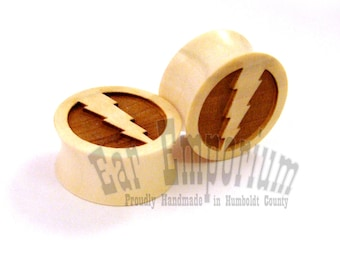 "Lightning Bolt Holly Wooden Ear Plugs 0g 00g 000g 7/16"" (11mm) 1/2"" (13mm) 9/16"" 14mm 5/8"" 16 mm 11/16"" 17.5mm 19mm 20.5mm 22mm 25.5mm 28mm"