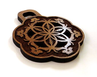 Grateful Dead Inspired Wooden Pendant made of Sustainable Walnut - Large, 100% natural wood bling