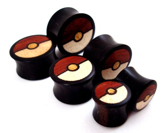 "Tri-Color Wood Inlay in Ebony Wooden Plugs - 0g (8mm) 00g (10mm) 7/16"" (11mm) 1/2"" (13mm) 9/16"" (14mm) Organic Wood Ear Gauges"