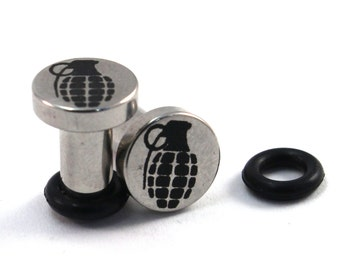 Grenade Surgical Steel Plugs - Single Flared - 8g (3mm) 6g (4mm) 4g (5mm) 2g (6mm) Metal Ear Gauges