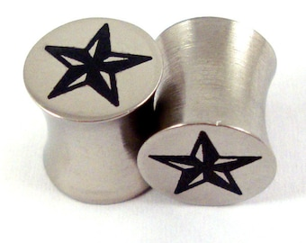 "Nor Cal Star Surgical Steel Plugs 2g 0g 00g 7/16"" (11mm) 1/2"" (13mm) 9/16"" (14mm) 5/8"" (16 mm)  Ear Gauges"