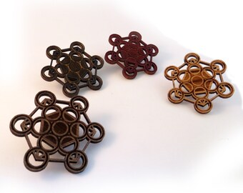 Fruit of Life Hat Pin - Sustainably Harvested Wood; Oak, Walnut or Red Stained Maple - Metatron's Cube Merkabah Sacred Geometry Wooden Pin