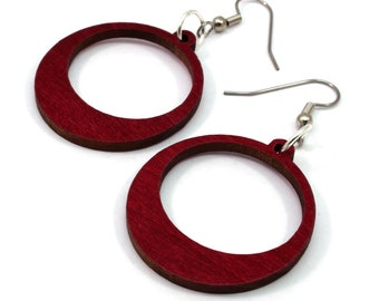 Simple Hoop Wooden Hook Earrings - Sustainably-Harvested Red Stained Maple - Dangle Wood Earrings - in 2 Sizes