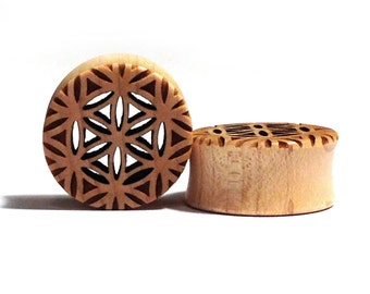 "Cutout Flower of Life Maple Wooden Plugs PAIR 5/8"" (16mm) 3/4"" 7/8"" (22mm) 1"" (25.5mm) 1 1/8"" (28mm) Sacred Geometry Wood Ear Tunnels Gauges"