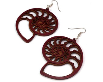 Ammonite Natural Wood Hook Earrings - Sustainable Red or Black Stained Maple, Oak, Walnut - BeardArt (Matt Beard) Nautilus Design - 3 Sizes