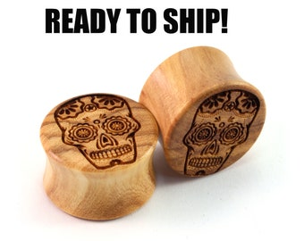 "READY TO SHIP - 3/4"" (19mm) Olivewood Sugar Skull Wooden Plugs - Pair - Hand-Turned - Premade Gauges Ship Within 1 Business Day!"
