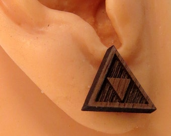 Tri Force Sustainable Wooden Post Earrings - triforce Walnut Wood Studs