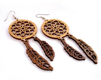 Dream Catcher Sustainable Wooden Hook Earrings - in Oak and Walnut Sustainbly Harvested Wood Dangle Earrings