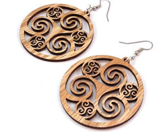 Celtic Hoop Earrings made of Sustainable Oak Wood - Hook Dangle Drop Earrings - 3 Sizes