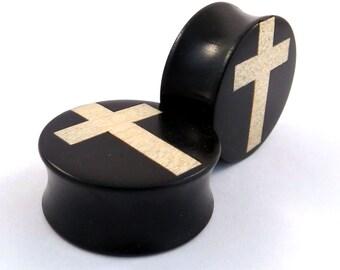 """White Cross Inlay in Ebony Wooden Plugs - 5/8"""" (16 mm) 11/16"""" (17.5mm) 3/4"""" (19mm) (20.5mm) 7/8"""" (22mm) 1"""" (25.5mm) 1 1/8"""" (28mm) Ear Gauges"""