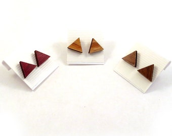 Sustainable Wooden Post Earrings - Triangles, Simple Studs - Pair - in Oak, Walnut, or Red Stained Maple - Wood Studs