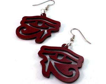 Sustainable Wooden Hook Earrings - Eye of Horus - in Red Stained Maple - medium, Egyptian hieroglyph eyes