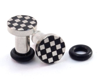 Checkers 316L Surgical Steel Plugs - Single Flared - 8g (3mm) 6g (4mm) 4g (5mm) 2g (6mm) Single Flare Metal Ear Gauges