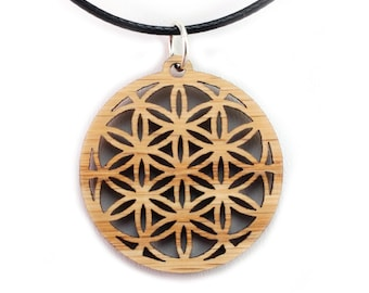 Flower of Life Wooden Pendant - Oak, Walnut, Red or Black Stained Maple - Sacred Geometry - Sustainable Wood Jewelry - SHIPS FREE