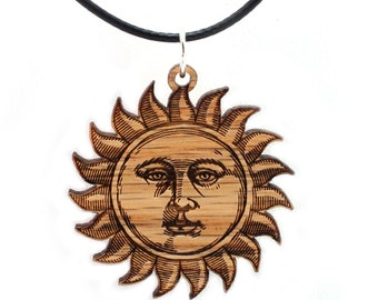 "Sun Face Wooden Pendant - Oak - 1.5"" - Sustainable Wood Jewelry - SHIPS FREE"