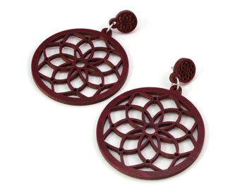 Dream Catcher Sustainable Wooden Post Earrings - 2 inch - Red-Stained Maple, Oak, Walnut
