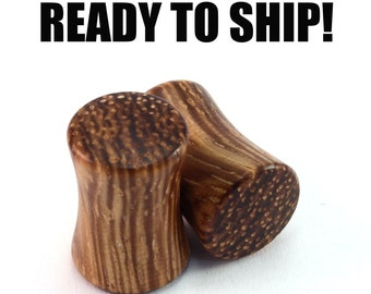 READY TO SHIP - 0g (8mm) Zebrawood Blank Wooden Plugs - Pair - Premade Gauges Ship Within 1 Business Day!