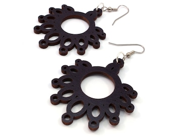 Sustainable Wooden Earrings - Dripping Loops - in Black Stained Maple - Gift for Her - Made in PA