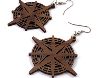 Compass Rose Sustainable Wooden Earrings - in Walnut - Nautical Wood Dangle Hook Earrings - in 2 Sizes