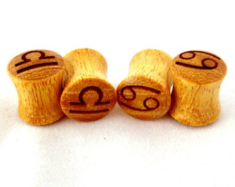 "Signs of the Zodiac Osage Orange Wooden Plugs - PAIR - 0g 8mm 00g 9mm 10mm 7/16"" 11mm 1/2"" 13mm 9/16"" 14mm 5/8"" 3/4"" 7/8"" 1"" Wood Ear Gauges"