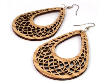 "Teardrop Dreamcatcher Hook Earrings in Oak - 2.75"" or 2"" long - Sustainably Harvested Wooden Tear Drop Dangle Earrings"