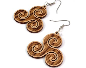 Celtic Triskelion Earrings made of Sustainable Oak, Walnut, Red-Stained Maple, Black-Stained Maple Wood - Hook Dangle Drop - 3 Sizes