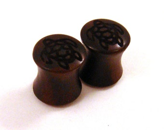 "Sea Turtle Ebony Wooden Plugs PAIR - 2g (6.5mm) 0g (8mm) 00g (9 mm) 7/16"" (11 mm) 1/2"" (13 mm) 9/16"" (14 mm) up to 1 3/4"" (44mm) Wood Gauges"