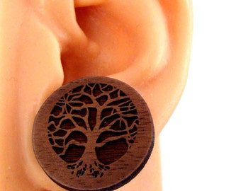 Tree of Life Sustainable Wooden Post Earrings - Walnut Wood Studs - Large