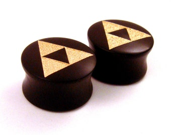"Tri Force Ebony Wooden Plugs with Gold Enamel - PAIR - 2g (6.5mm) through 1 1/2"" (38mm) including 30mm 1 1/4"" 32mm Triforce Wood Ear Gauges"