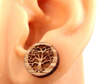Tree of Life Sustainable Wooden Post Earrings - Oak Wood Studs