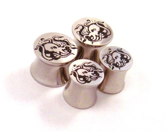 "Octopus Surgical Steel Plugs - Double Flared - 2g 0g 00g 7/16"" (11 mm) 1/2"" (13mm) 9/16"" (14mm) 5/8"" (16mm) Nautical Metal Gauges"