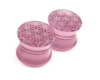 "Flower of Life Purple Glass Plugs PAIR 0g (8mm) 00g (9mm) (10mm) 7/16"" (11mm) 1/2"" (13mm) 9/16"" (14mm) & up Ear Gauges"